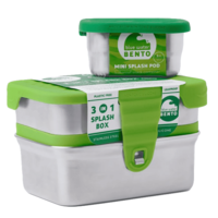 Eco Lunchbox RVS broodtrommel met 3 compartimenten. 3 in 1 Splash Box
