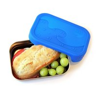 Eco Lunchbox RVS broodtrommel met siliconen deksel. Blue water Bento Splash Box.