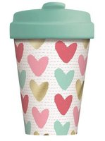 BambooCup volledig bamboe koffie to go beker Happy Hearts Gold