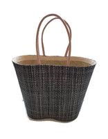 FairTrade grote tas van gevlochten riet. Grote zwarte shopper met lederen handgrepen.