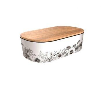 Bamboofriends de luxe broodtrommel met houten deksel Minimalist Flowers