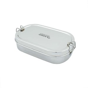 Ovale Slice of Green lunchbox RVS met mini container