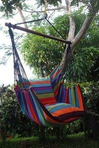 XL Hangmatstoel, Fairtrade hangstoel tropisch gestreept