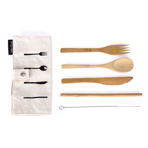 Cutlery set case bamboo - Bamboe bestek set in katoenen hoes