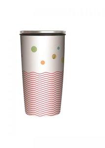 Dubbelwandige koffiebeker voor onderweg - Slidecup beker van RVS en bamboe