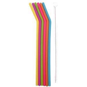 Dotz kleurrijke silicone rietjes gebogen inclusief borsteltje - GreenPicnic