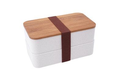 Tarwestro broodtrommel met twee compartimenten en bamboe houten deksel