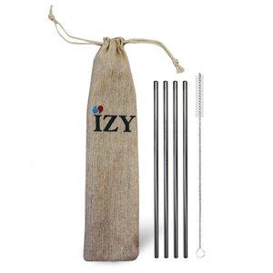 GreenPicnic - IZY Bottles RVS rietjes set van 4 met borstel