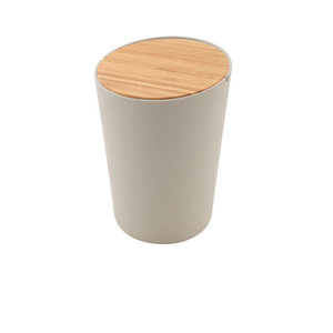 Bamboevezel vuilbakje van Point Virgule met bamboe deksel, GreenPicnic