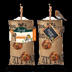 Vogelvoerhanger voor Roodborstjes, van gerecyclede thee zakken GreenPicnic