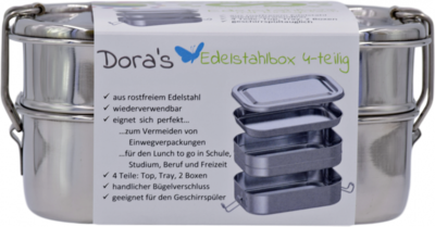 RVS lunchbox van Doras, tweedelig met uitneembaar blad - GreenPicnic
