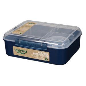 Sistema Renew bento lunchbox met vier compartementen, donkerblauw