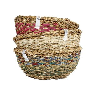 Round Sari and Seagrass bowl - Respiin
