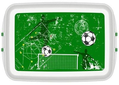 Duurzame voetbal broodtrommel van Biodora, bio plastic lunchbox