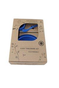 Ajaa 4-delige geschenk set, PLA bio plastic kinderservies setje blauw