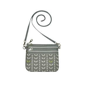 Fairtrade schoudertasje met 3 vakken Grey Leaves