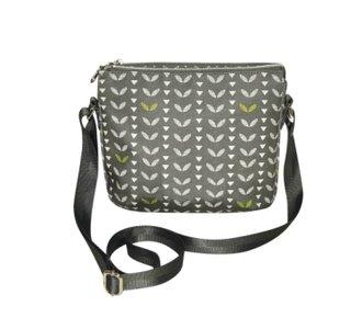 Fairtrade canvas schoudertasje met 3 vakken Grey Leaves