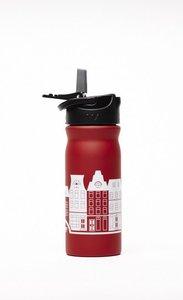 Tulper rode rvs drinkfles met grachtenpand print