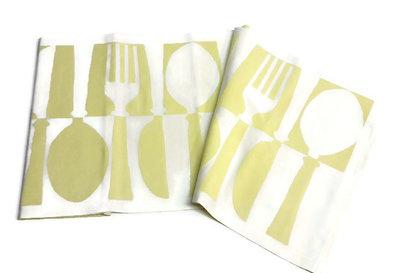 Tina tafelloper van biologisch katoen geel bestek