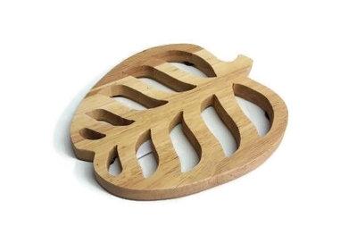 Fairtrade houten onderzetter blad