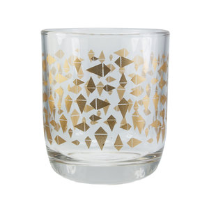 EcoDesign Fairtrade drinkglas met gouden Triangle print