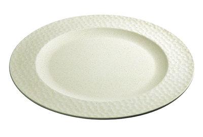 Zuperzozial large bite plate hammered, bamboe dinerbord met hamer effect wit