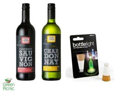 GreenPicnic kerstpakket of relatiegeschenk Fairtrade wijn en bottlelight