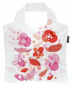 Ecozz opvouwbaar tasje wit met rozenprint.