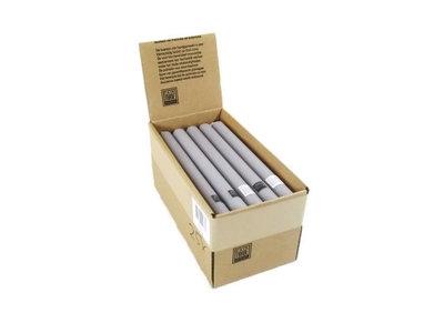 Fairtrade kaarsen grijs in doos 25 stuks