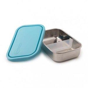UKonserve rectangle container blue, rvs broodtrommel met verdeler