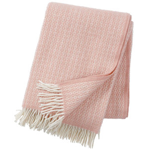 Klippan Rumba deken of plaid zachtroze van 100% eco lamswol