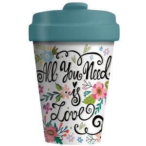 BambooCup koffiebeker van bamboe met afsluitbaar deksel All you need is love