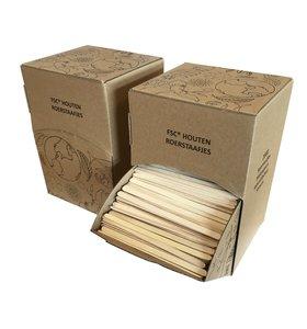 Roerstaafjes van FSC hout in display doos GreenPicnic