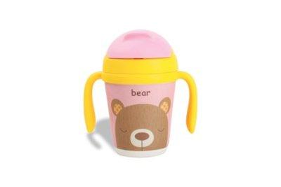Beren drinkbeker met handgrepen en rietje van bamboevezel