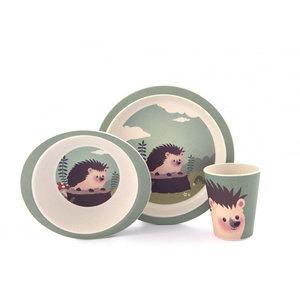Duurzaam bamboe kinderservies met vosje bestaand uit bord, beker en kom met Egel