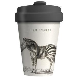 BambooCup koffiebeker van bamboe met afsluitbaar deksel Special Zebra