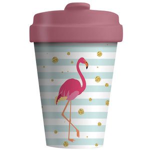 Bamboocup Koffie to go beker Flamingo