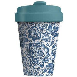 Bamboocup Koffie to go beker Blue Flowers