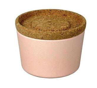 Zuperzozial roze bamboe voorraadbox met deksel van kurk