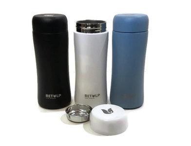 Retulp Tumbler wit, zwart en blauw, RVS drinkbeker met theezeefje