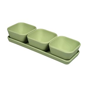 Zuperzozial triple treat willow green bamboe snackset