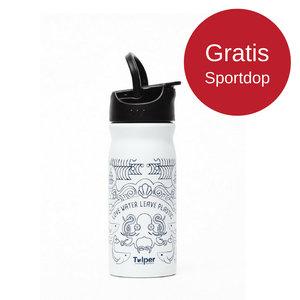 Tulper RVS drinkfles wit met gratis sportdop