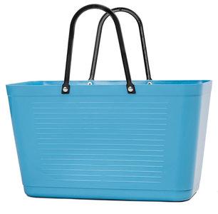 Hinza Bag Turquoise, blauwe boodschappentas van bio plastic