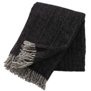 Klippan deken Bjork Black, ecowol plaid donkergrijs
