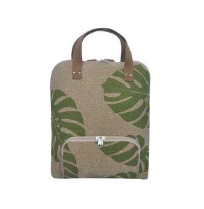 Fairtrade rugtas van jute en katoen met groene bladeren print