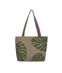 Fairtrade tas jute en katoen - Green Leaf shopper Teranga