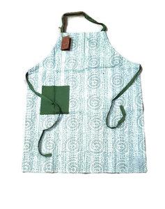 Fairtrade keukenschort Only Natural groene blokprint
