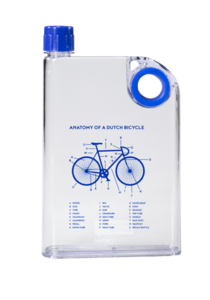 Retulp Messenger bottle Anatomy of a Dutch bicycle Blue, platte water fles