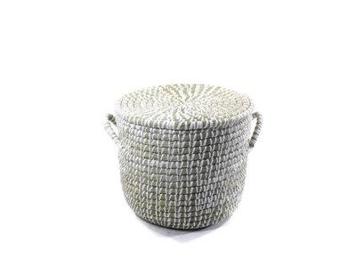 Fairtrade ronde mand met deksel en handgrepen, gemaakt van wit omwikkeld kaisagras