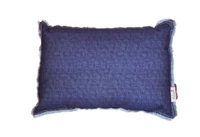 Imbarro cushion denim blue, blauw sierkussen Greenpicnic